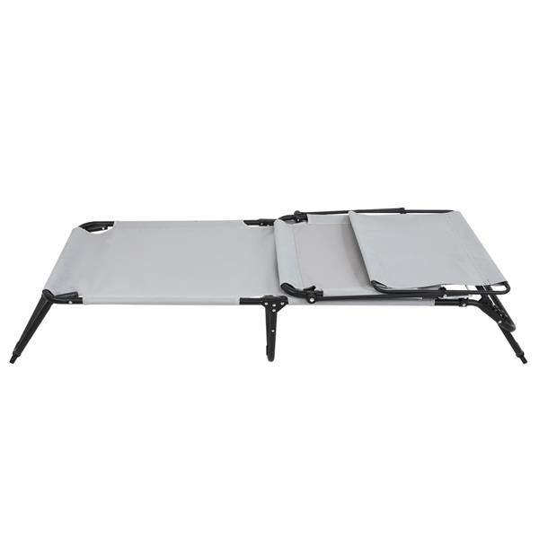 Outdoor Folding Three-Fold Camping Bed Gray (With Head Canopy)