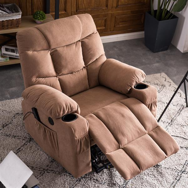 Type B Electric Lift Function Chair with Massage Cup Holder Brown Fabric Box B  [91x95x100]