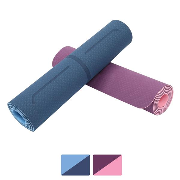 Eco Friendly TPE Yoga Mat 6mm Thick with Body Alignment Line, Non Slip Textured Surfaces Workout for Yoga, Pilates & Fitness
