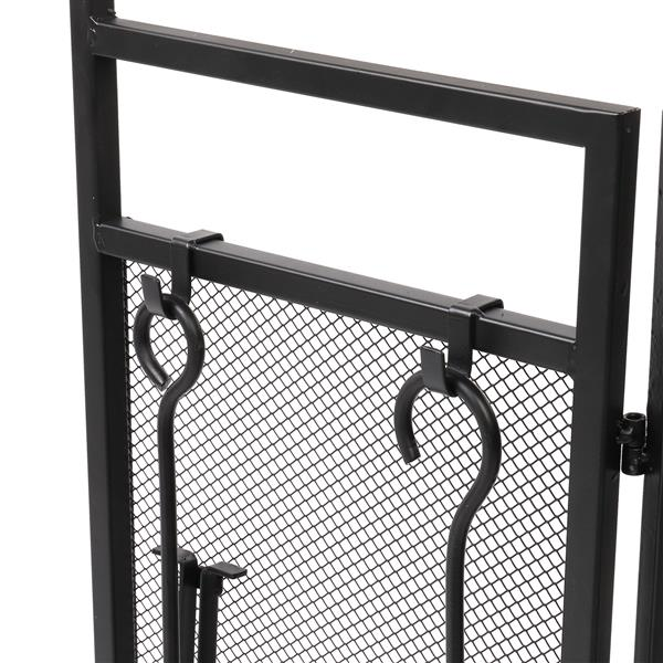 Double Door Tri-Fold Iron Mesh Fireplace Screen 122*80 with Tools