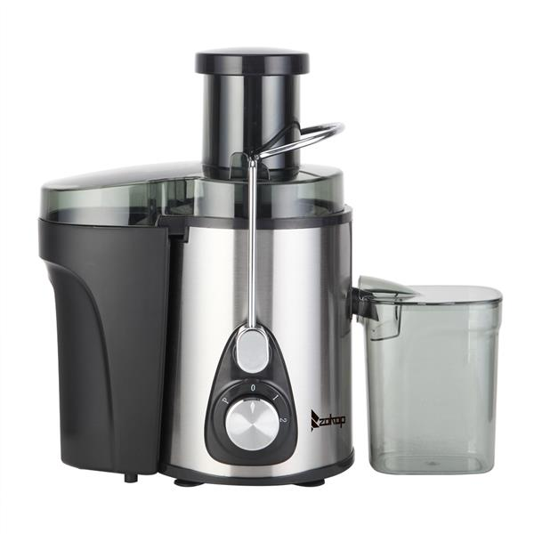 ZOKOP American Standard J02 110V 600W 75MM Large Caliber 600ML Juice Cup 1000ML Slag Cup Double Gear Electric Juicer Stainless Steel Black
