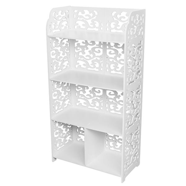 Wood-plastic Board Four Tiers Multifunctional Storage Rack White