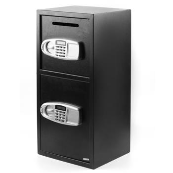 DS77TE Home Office Security Large Electronic Digital Steel Safe Black Box & Silver Grey Pannel