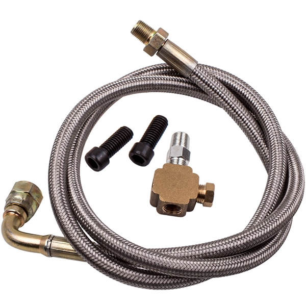 """1/8 NPT 41"""" INCH T3 T4 T04E T76 T60 Turbocharger BRAIDED OIL INLET FEED LINE"""