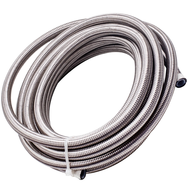 -8AN 20FT PTFE And Stainless Steel Braided Fuel Oil Line Hose + AN8 Connector