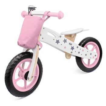 Wooden Toys: Wooden Balance Bike Star Model With Bag/Bell Pink