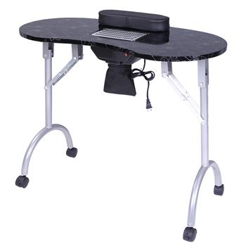 Portable MDF Manicure Table Spa Beauty Salon Equipment Desk with Dust Collector & Cushion & Fan Black