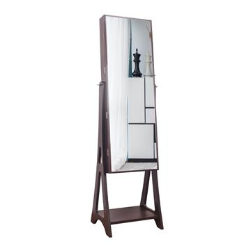 Full Mirror Makeup Mirror Cabinet 2 Drawers 5 Layers Storage Cabinet Solid Wood Pattern Covered Storage Base Drop Jewelry Mirror   Cabinet Brown (Including LED)