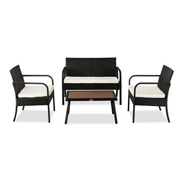 OSHION Outdoor Leisure Rattan Furniture Rattan Chair Small Four-piece Coffee Table Solid Wood Coffee Table-Black