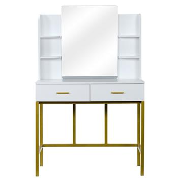 FCH Desktop Mirror With Shelf 2 Drawers, With Stool, Steel Frame Dressing Table White