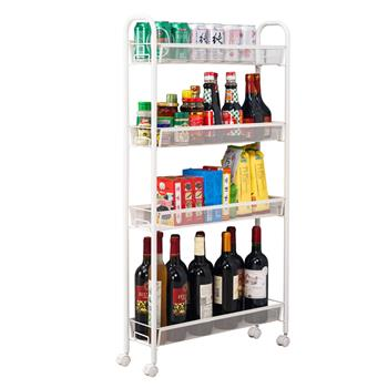 Honeycomb Mesh Style Four Layers Removable Storage Cart Ivory White