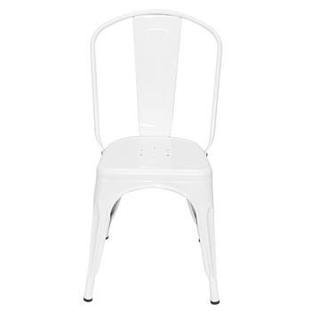 4pcs Industrial Style Iron Sheet Chair White