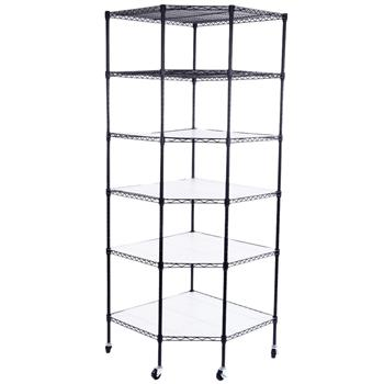 "6-Layer Plastic Coated Polygonal Corner Shelf with 2"" PP Wheels 680*680*1800 Black"