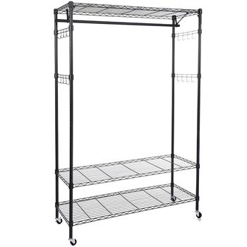 3-Tiers Large Size Heavy Duty Wire Shelving Garment Rolling Rack Clothing Rack