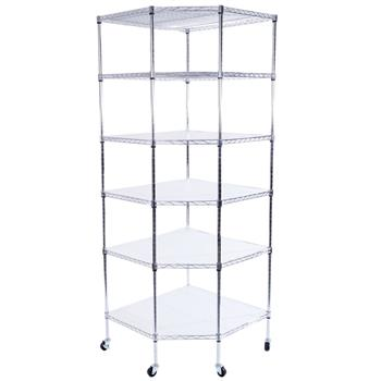 "6-Layer Chrome Plated Polygonal Corner Shelf with 2"" PP Wheels 680*680*1800 Silver"