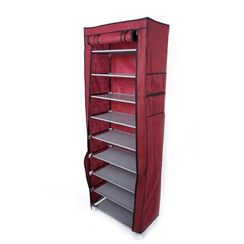 Fashionable Room-saving 9 Lattices Non-woven Fabric Shoe Rack Wine Red