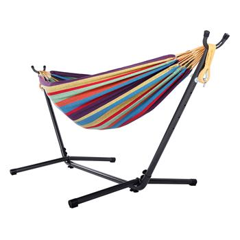 Portable Outdoor Polyester Hammock Set Black Background & Silver Flower & Colorful