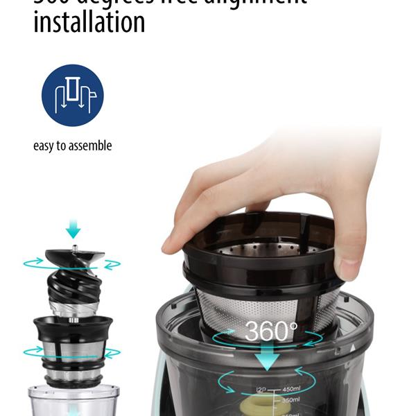 """Ban on Amazon platform salesCOMFEE' Juicer Extractor/Ice Cream Maker. 3.4"""" Chute. 55 RPM Slow Cold Press Masticating and Grinding. Quiet Motor. Reverse Function (Mint Green)"""