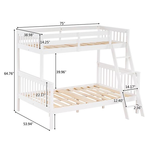 "Pine High Tall Mother and Child Bed Vertical Straight Headboard 65 ""H Twin over Full White"