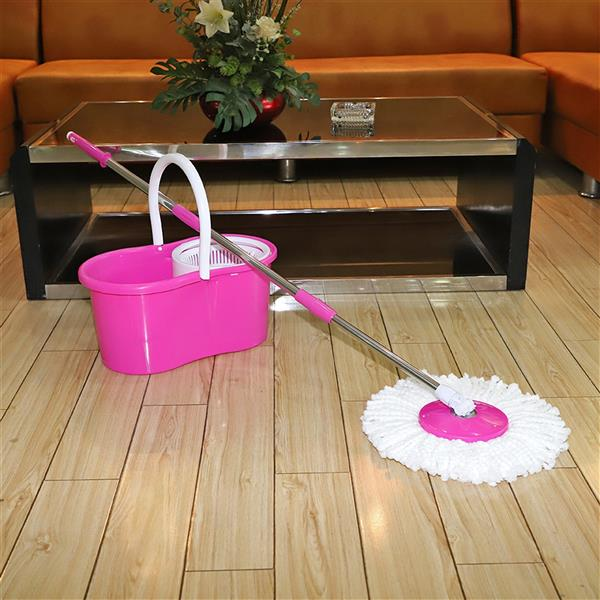 360° Spin Mop with Bucket & Dual Mop Heads Pink