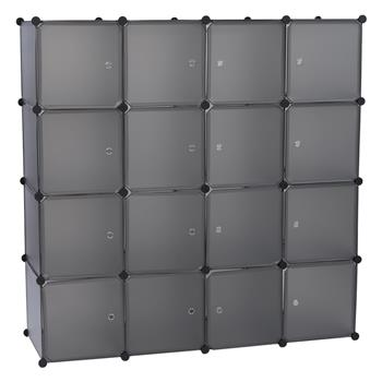 Modular Closet Organizer Plastic Cabinet, 16 Cube Wardrobe Cubby Shelving Storage Cubes Drawer Unit, DIY Modular Bookcase Closet System Cabinet with Doors for Clothes, Shoes, Toys, Gray