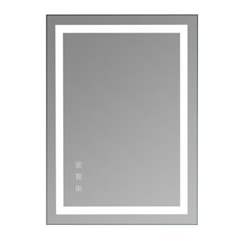 """Square Touch LED Bathroom Mirror, Tricolor Dimming Lights-28*20"""""""