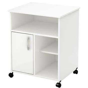 Printer Stand with Door Storage Office Cabinet, Wooden Under Desk Printer Cart Cabinet with Wheels White Color