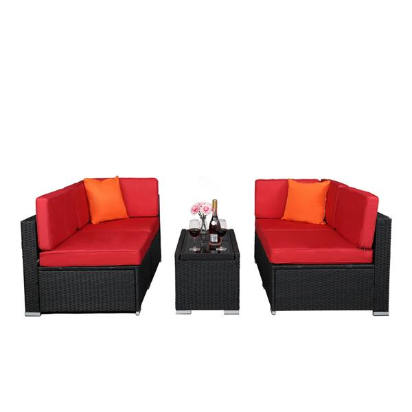 With Insulation Five-Piece Coffee Table Set Rattan Multi-Piece Set- Black Four-Wire