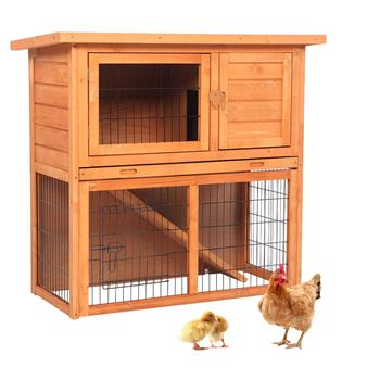 "36"" Waterproof 2 Tiers Pet Rabbit Hutch Chiken Coop Cage Hen House Wood Color"
