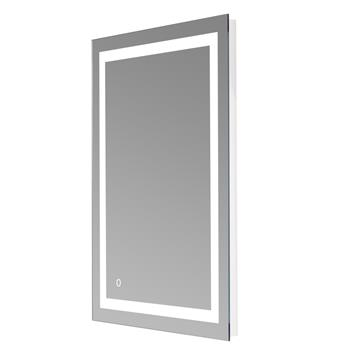 """28""""x 20"""" Square Built-in Light Strip Touch LED Bathroom Mirror Silver"""
