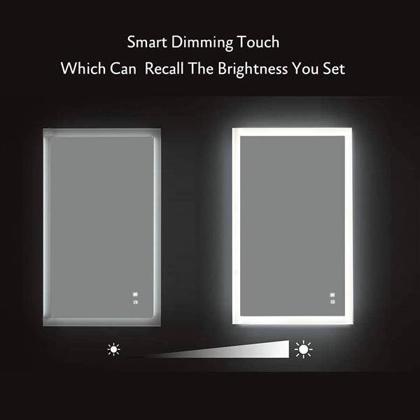 40 x 24 inch Backlit LED Lighted Bathroom/Vanity Mirror+Anti Fog+Dimmable+Touch Button+Slim+90 CRI+Waterproof IP44+Vertical & Horizontal Wall Mounted Way