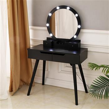 FCH Dressing Table with Single Round Mirror  with Bulb & 4 Drawers Black