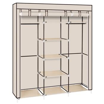 "69"" Portable Clothes Closet Non-Woven Fabric Wardrobe Double Rod Storage Organizer Beige"