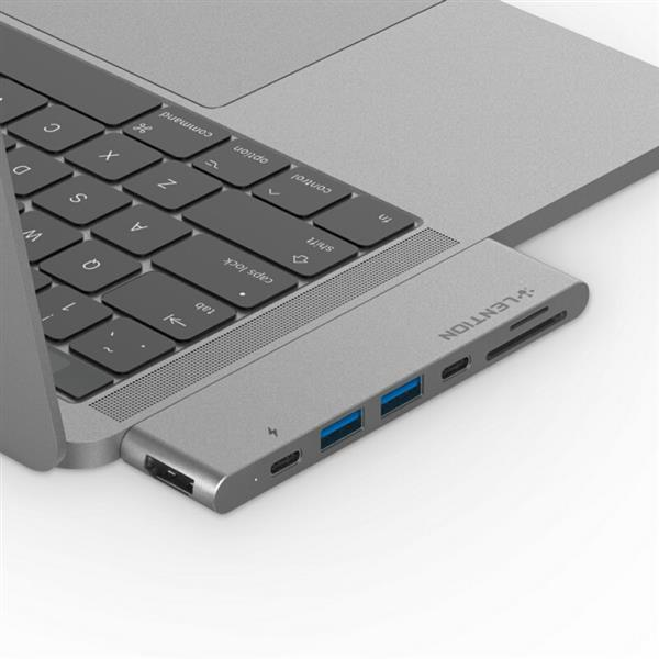 LENTION CS63THCR Dual USB-C Hub, with USB 3.0, HDMI, SD and TF Card Reader, Type-C male and female Ports, Compatible with Thunderbolt 3 (Space Gray)