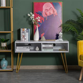 Marble Iron Foot TV Cabinet [106x50x62.5cm] White