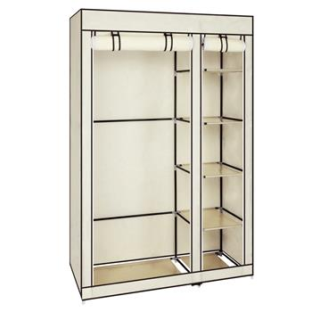 """67"""" Portable Clothes Closet Wardrobe with Non-woven Fabric and Hanging Rod Quick and Easy to Assemble Beige"""