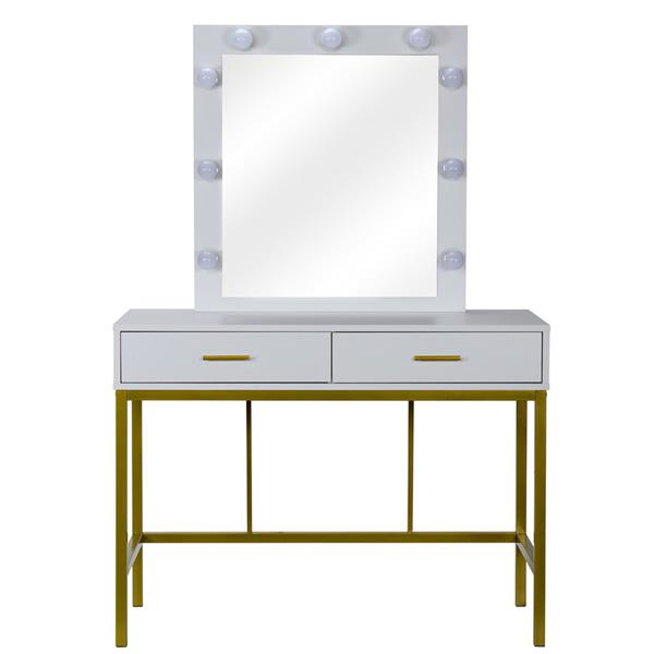 FCH Single Mirror With 2 Drawers And Light Bulbs, Steel Frame Dressing Table White