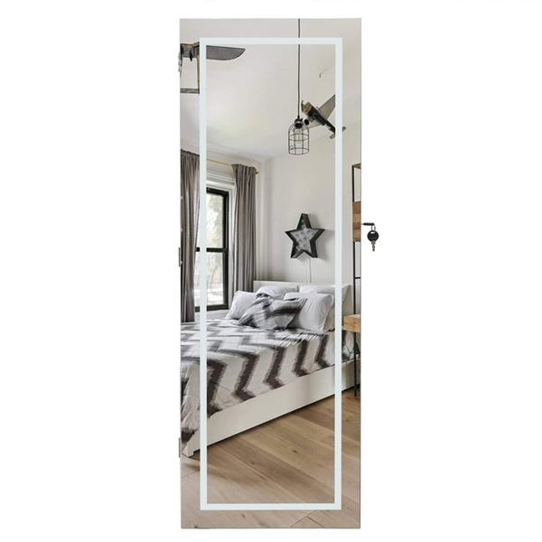 Full Mirror Wooden Wall Mounted 4-Layer Shelf With Inner Mirror 3-Color LED Light Jewelry Storage Mirror Cabinet - White