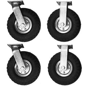 "4pcs 10"" Pneumatic Tool Car Rubber Wheels Black"