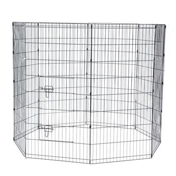 "48"" Tall Wire Fence Pet Dog Cat Folding Exercise Yard 8 Panel Metal Play Pen Black"