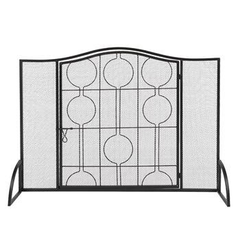 Single Door Curved Top Thin Line Round Decorative Iron Fireplace Screen (102 x 20 x 74)cm