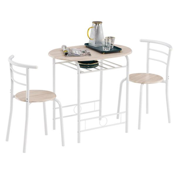 Oak PVC (80x53x76cm)Baking Lacquer Couples Bending Back Breakfast Table (One Table and Two Chairs) White