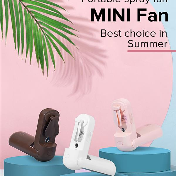 CHOETECH Mini Foldable Handheld Fan, Small Portable Spray Fan Speed Adjustable for Kids Girls Woman Man Home Office Outdoor Travel (Brown)