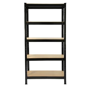 150 x 75 x 30cm 5 Tiers Powder Coated Storage Rack Black