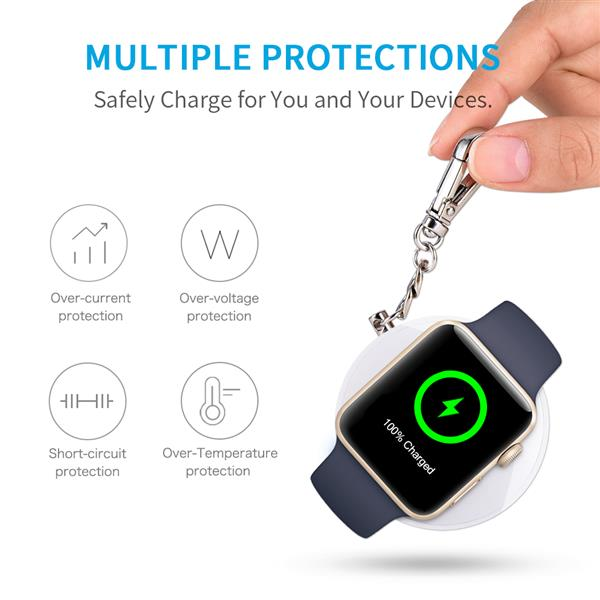 CHOETECH [MFI Certified] Wireless Charger Compatible with Apple Watch, Portable 900mAh Keychain Power Bank Compatible with Apple Watch 5/4/3/2/1 &