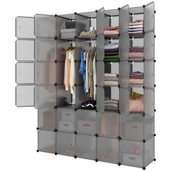 Modular Closet Organizer Plastic Cabinet, 30 Cube Wardrobe Cubby Shelving Storage Cubes Drawer Unit, DIY Modular Bookcase Closet System Cabinet with Doors for Clothes, Shoes, Toys, Gray