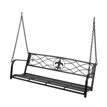 Flat Tube Double Swing Chair With Thick Back Line Black