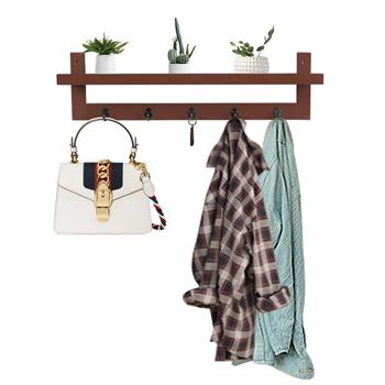 Brown Coat Rack Shelf, Coat Rack Wall-Mounted Wooden Hook Rack with 5 Metal Hooks for Hallway Bathroom Living Room Bedroom