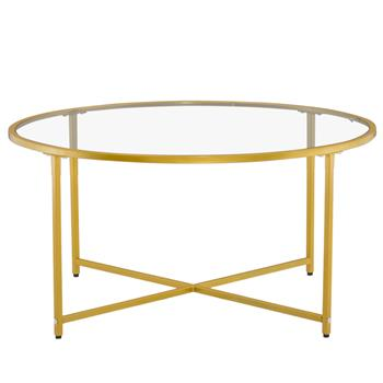 [90 x 90 x 45]cm Simple Cross Foot Single Layer Round Edge Table 90 Round Gold