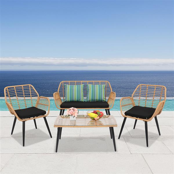 2-2 PE Steel Outdoor Wicker Rattan Chair Four-Piece Patio Furniture Set Yellow